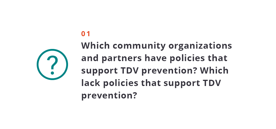 Which community organizations and partners have policies that support TDV prevention? Which lack policies that support TDV prevention?