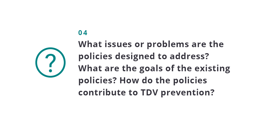 What issues or problems are the policies designed to address? What are the goals of the existing policies? How do the policies contribute to TDV prevention?