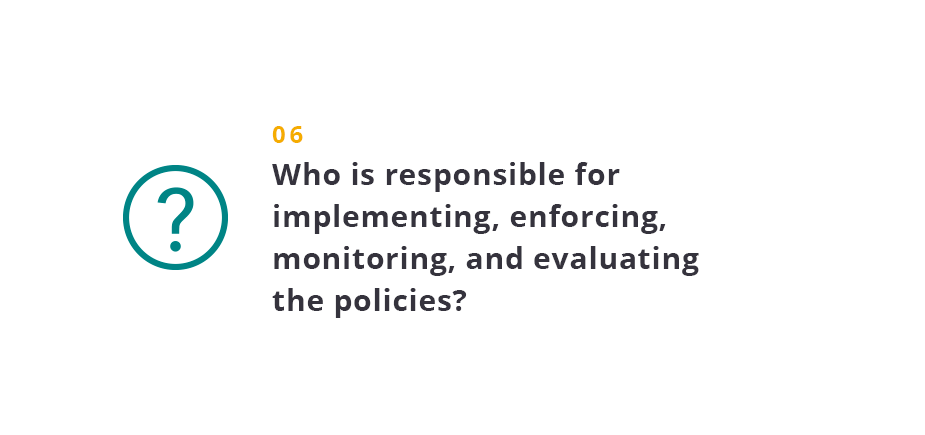 Who is responsible for implementing, enforcing, monitoring, and evaluating the policies?