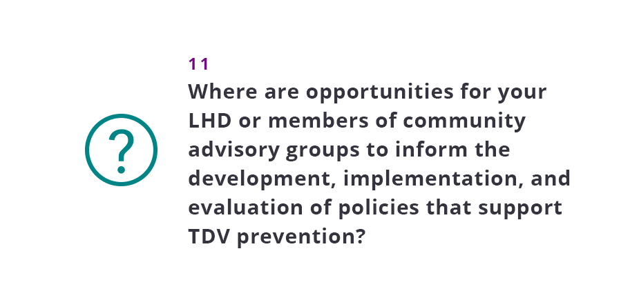Where are opportunities for your LHD or members of community advisory groups to inform the development, implementation, and evaluation of policies that support TDV prevention?