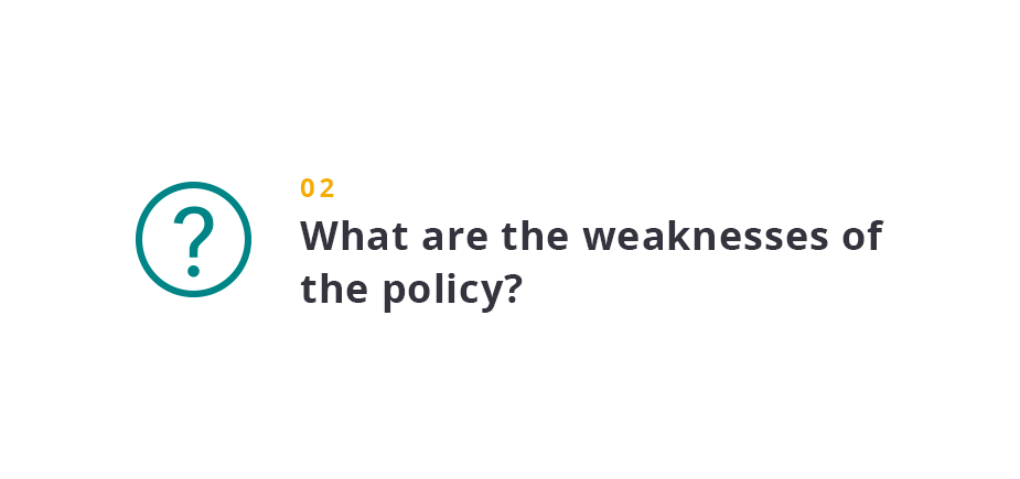 What are the weaknesses of the policy?