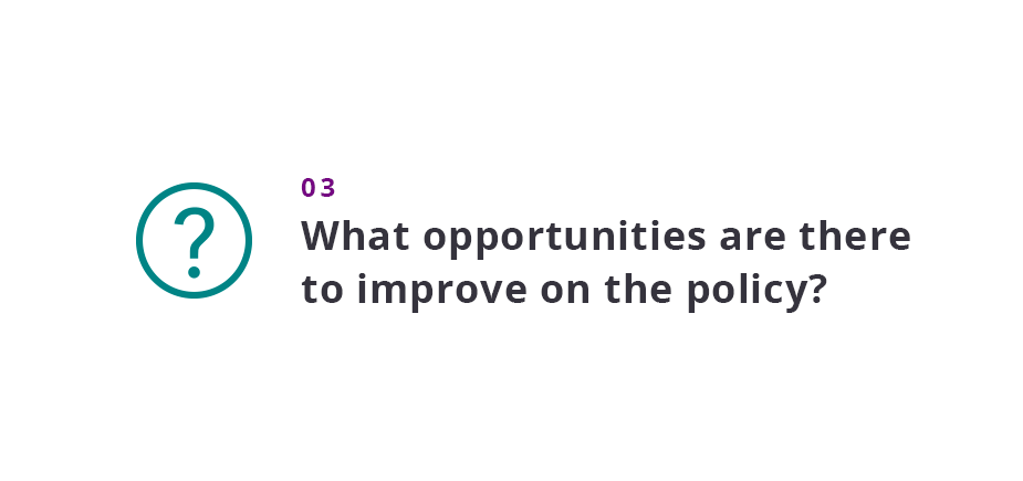 What opportunities are there to improve on the policy?