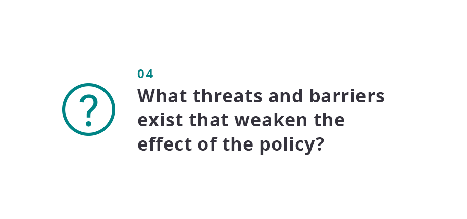What threats and barriers exist that weaken the effect of the policy?