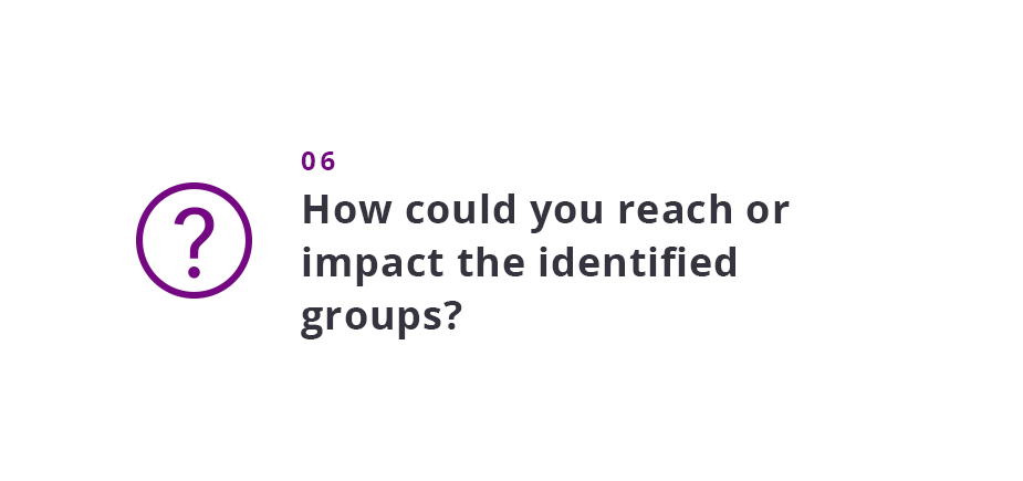 How could you reach or impact the identified groups?