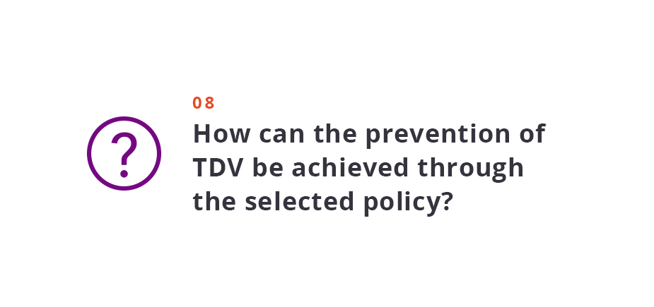 How can the prevention of TDV be achieved through the selected policy?