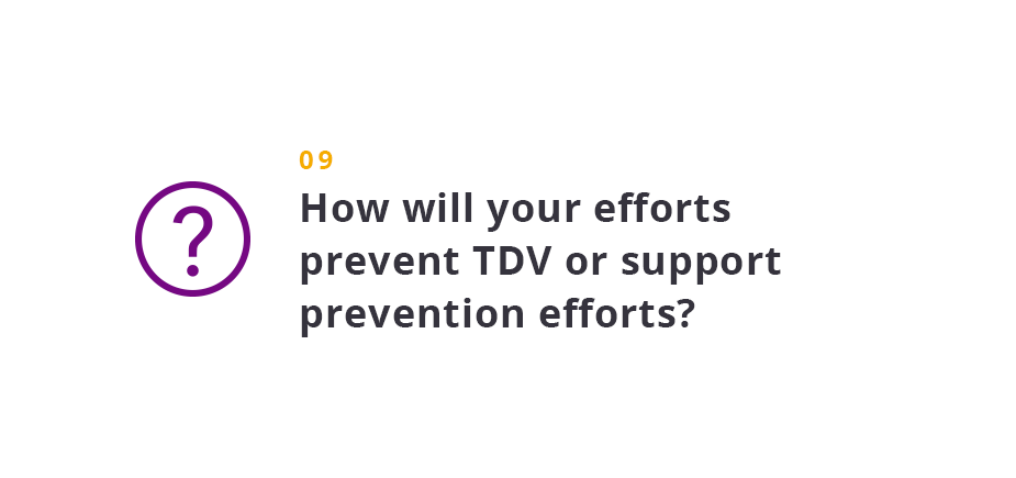 How will your efforts prevent TDV or support prevention efforts?