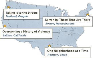 Map of the US defining the 4 grantee profiles including Portland, Boston, Houston and Salinas.
